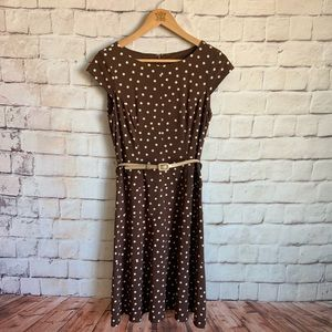 Jones Wear Dress, Brown Polka Dot, Fit/Flare 6